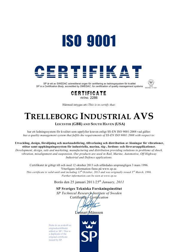 TRELLEBORG сертификат ISO 9001